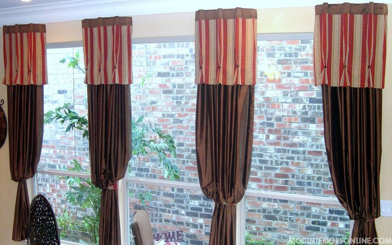 Seating_wood_floral_curtain_Panels_mirror_red_brown_chocolate_windowtreatment_modinteriorsonline.com