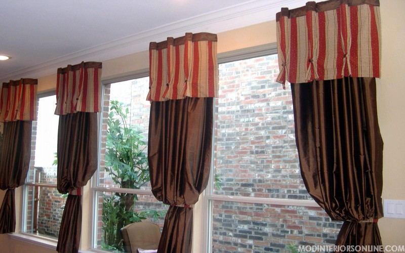 Seating_yellow_floral_curtain_Panels_mirror_red_brown_chocolate_windowtreatment_modinteriorsonline.com
