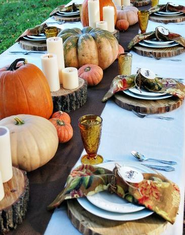 fall tablescape thanksgiving Table centerpiece fall table Tablescapes gourds tall votives