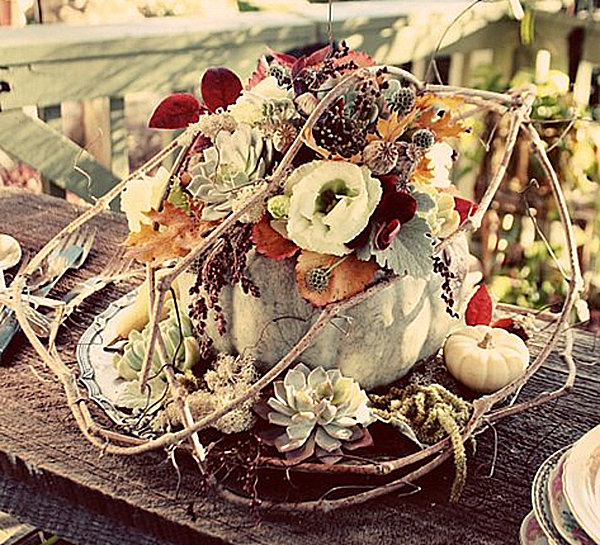 Centerpiece Pumpkin Fall Floral Fall Decoration Thanksgiving Table Setting MOD Interiors