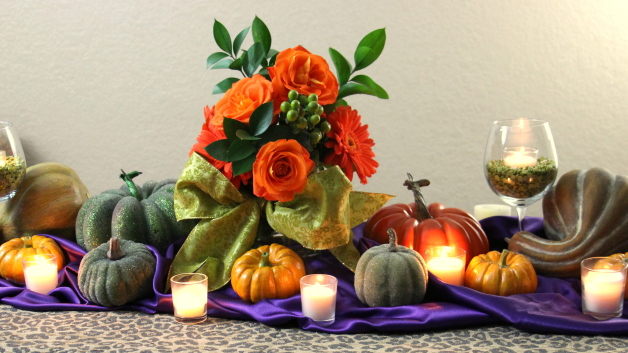 wedding pumpkin gourds tall votives