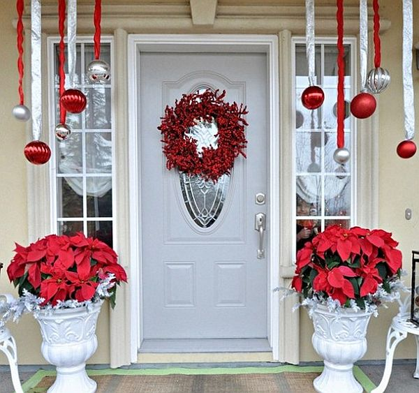 Beau Easy Outdoor Christmas Decorations Front Door Wreath Poinsetta ...