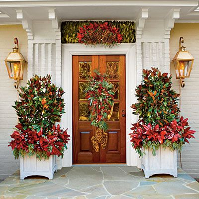 Front door Christmas magnolia tree Southernliving modinteriors holiday decorating entry front door
