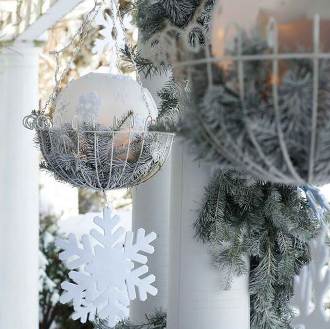 basket holiday decorating modinteriorsonlinecom frosted greenery - Discount Outdoor Christmas Decorations
