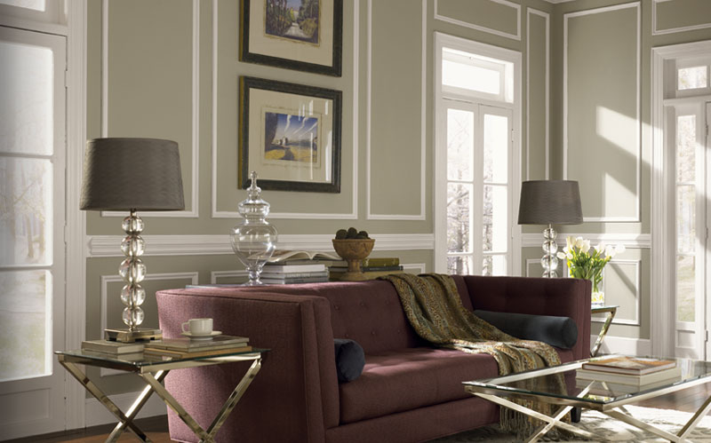 modinteriorsonline.com How to use the color red in your decor-marsala sofa sw sedate gray walls