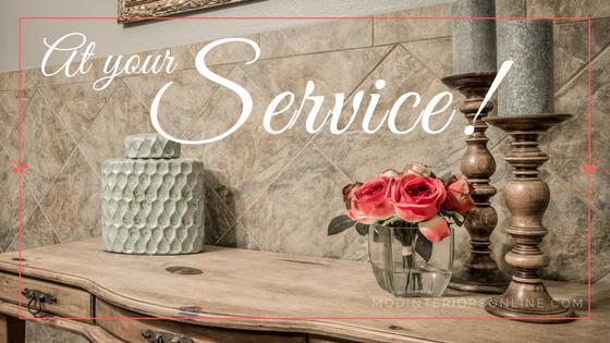 At your service Wood side table pink flower arrangement Decorative vase