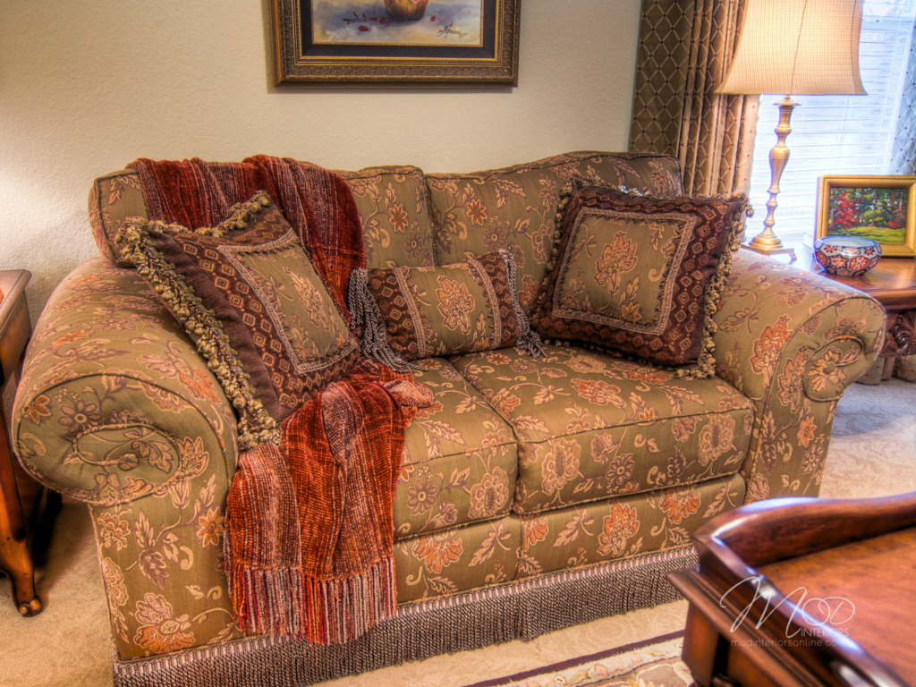 Design tips on How-to arrange your furniture, in traditional seating room with purple and green love seat throw pillows and textured throw in Grapevine, tx