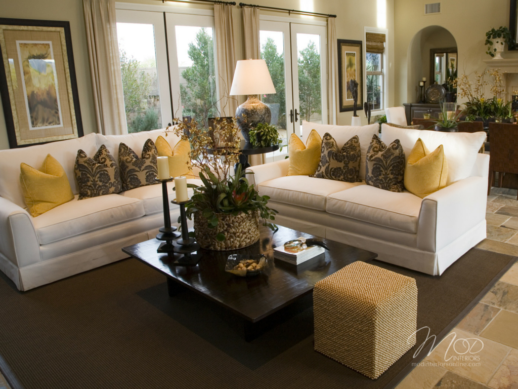 Design tips on How-to arrange your furniture, living room furniture with white slip cover furniture and yellow accents in Colleyville, tx