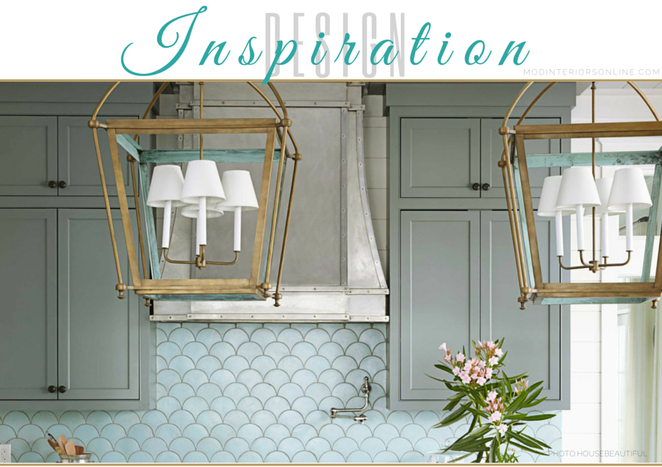 Ocean Inspired Kitchen design withfish scale patterned tile, painted cabinetry and stainless steel hood