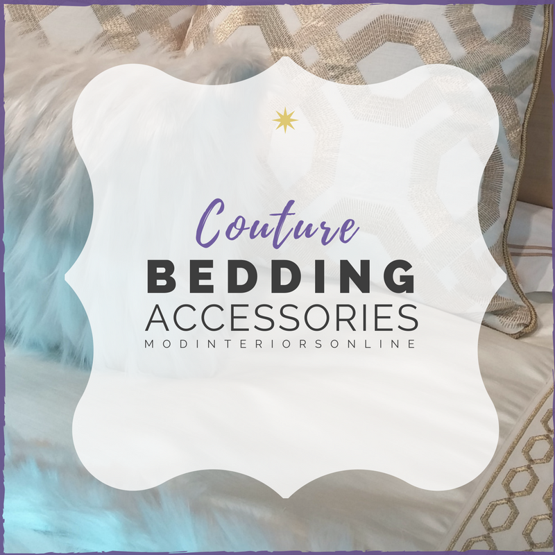 Luxury bed Linens, throw pillows, and duvet covers.