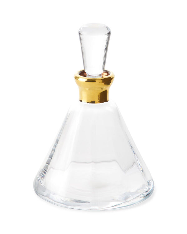 Modern Classic Clear Glass Gold Neck Prism Decanter
