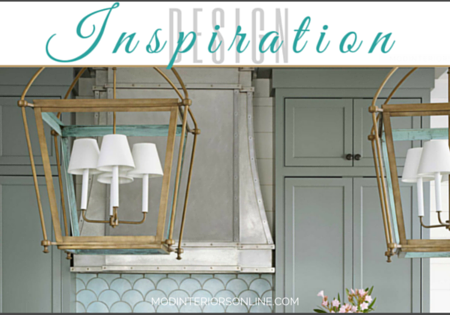 Ocean Inspired Kitchen design withfish scale patterned tile, painted cabinetry and painted cabinetry